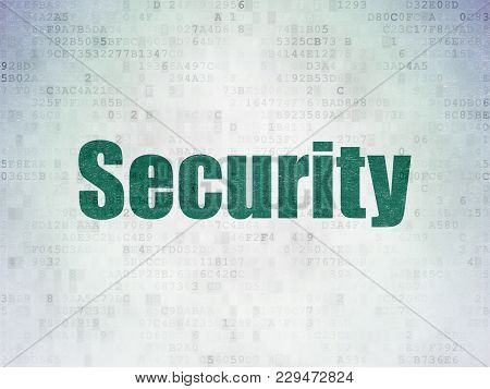 Security Concept: Painted Green Word Security On Digital Data Paper Background