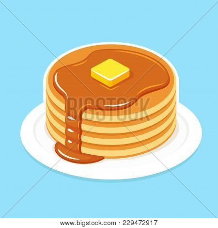 Buttermilk Pancakes On Plate With Butter And Honey Or Maple Syrup. Traditional American Breakfast Fo