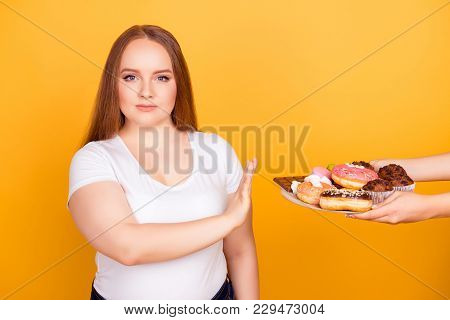 I'm Against Eating Products Containing Fat! Will-powered Woman Wearing White Tshirt Is Refusing To C