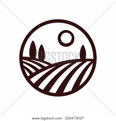 Stylized Vineyard Landscape Vector Illustration. Modern Monochrome Winery Logo.
