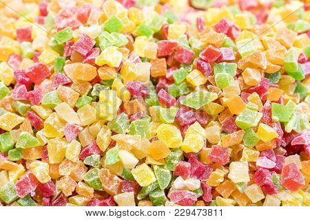 Background Of Dried And Sun Dried Fruits Close-up Shot.