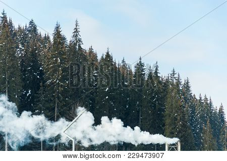 Beautiful Mountain Forest In Boiler Plant Fumes
