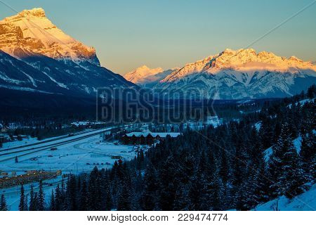 Morning View Of Cascade Mountain In Banff Np, Canadian Rockies In Morning Light, Sunrise In Canmore