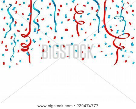 Usa Celebration Red And Blue Confetti And Ribbons Falling. Concept In National Colors For American I