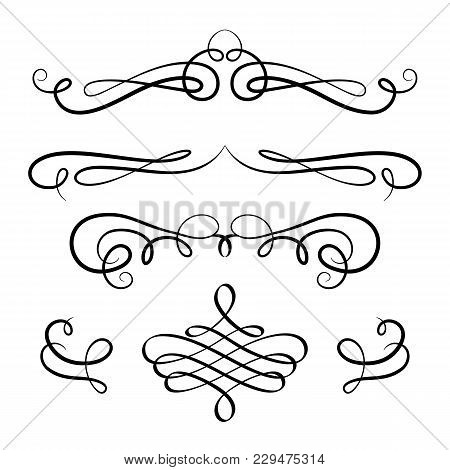 Vintage Calligraphic Vignettes And Flourishes, Decorative Design Elements In Retro Style, Vector Scr