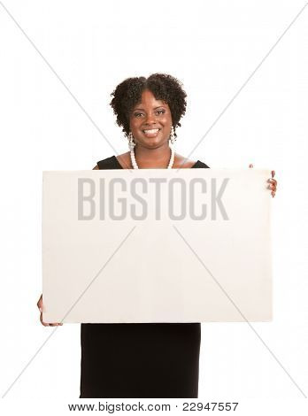 Happy Smiling African American Female Holding Blank Board Isolated