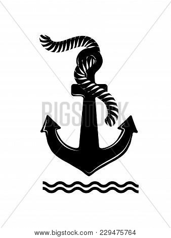 Black Anchor With Rope Isolated On White Background