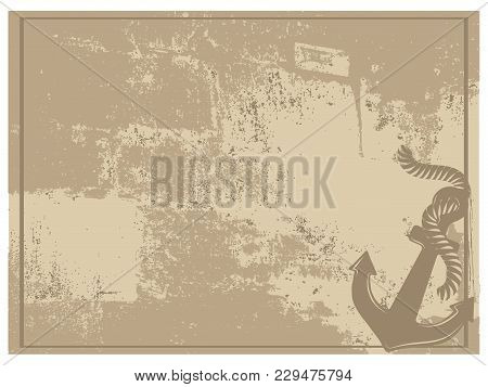 Silhouette Of Anchor On Vintage Brown Background