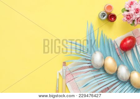 Flat Lay Top View Colorful Easter Egg Painted In Pastel Colors Composition And Spring Flowers With P