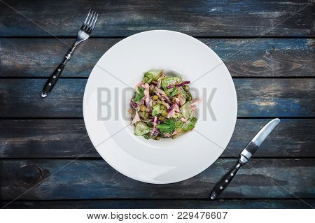 Salad With Beef Tongue And Apple With Romaine Lettuce, Roasted Beets And Capers, Served With Cutlery
