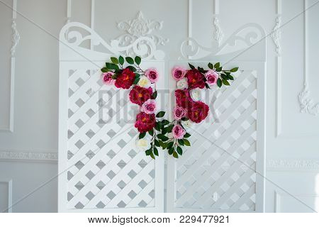 White Delicate Decorative Wood Panel In Classical Interior. Boudoir Wedding Room. Retro Folding Scre