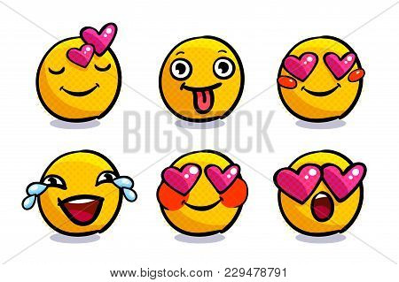 Set Of Cute Emoticons In Love. Set Of Valentine Emoji. Smile Icons On White Background. Vector Illus