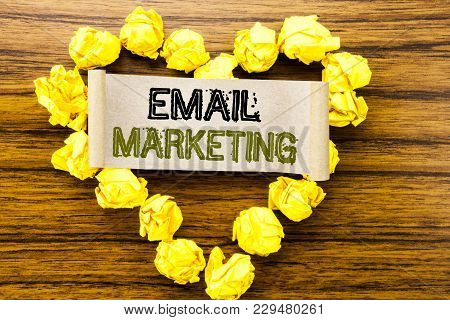 Word, Writing Email Marketing. Business Concept For Online Web Promotion Written On Sticky Note Pape