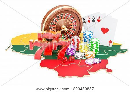 Casino And Gambling Industry In Lithuania Concept, 3d Rendering Isolated On White Background