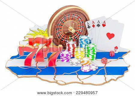 Casino And Gambling Industry In Uruguay Concept, 3d Rendering Isolated On White Background