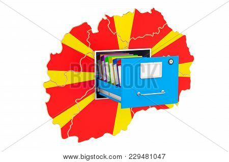 Macedonian National Database Concept, 3d Rendering Isolated On White Background