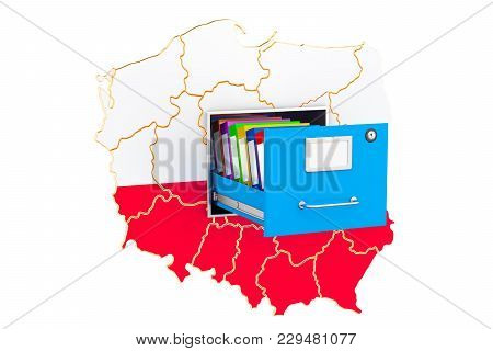 Polish National Database Concept, 3d Rendering Isolated On White Background