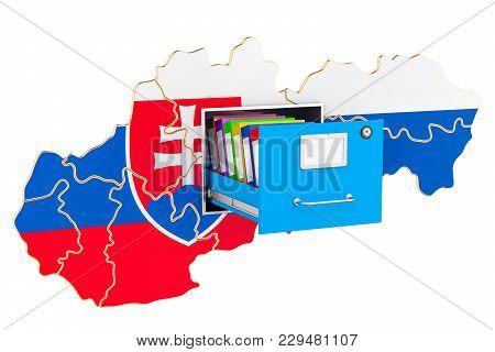 Slovak National Database Concept, 3d Rendering Isolated On White Background