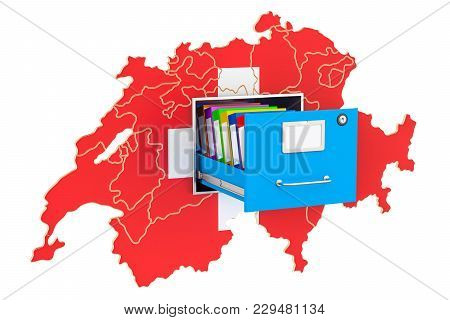 Swiss National Database Concept, 3d Rendering Isolated On White Background