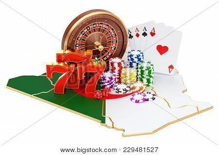 Casino And Gambling Industry In Algeria Concept, 3d Rendering Isolated On White Background