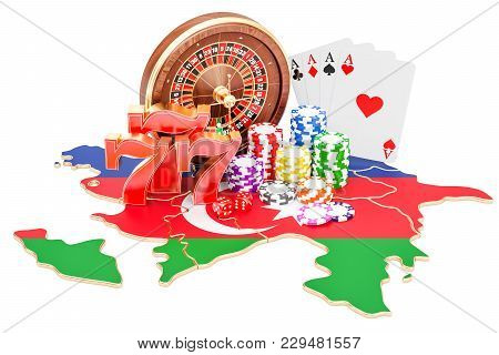 Casino And Gambling Industry In Azerbaijan Concept, 3d Rendering Isolated On White Background