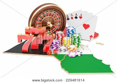 Casino And Gambling Industry In Kuwait Concept, 3d Rendering Isolated On White Background