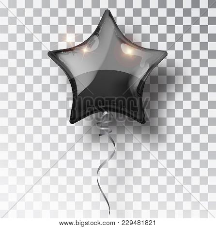 Star Black Balloon On Transparent Background. Party Balloons Event Design Decoration. Balloons Isola