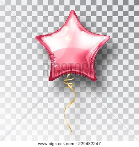 Star Pink Balloon On Transparent Background. Party Helium Balloons Event Design Decoration. Balloons