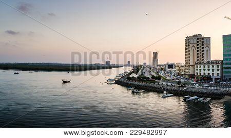 Ras Al Khaimah, United Arab Emirates - March 3, 2018: Ras Al Khaimah Corniche Panoramic View With Cr