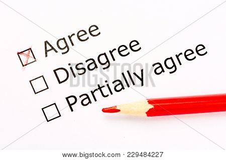 Questionnaire. Choice Of Acceptance In Feedback Survey With Red Pencil. Close Up