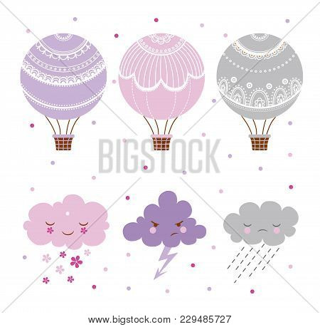 Set Of Hot Air Balloon And Clouds, Collection Of Different Hot Air Balloons.