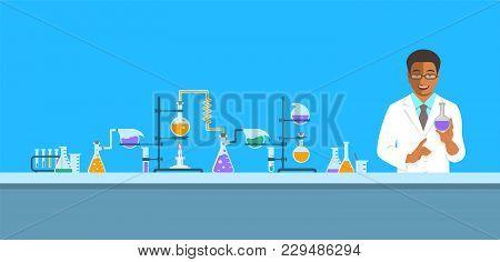 Chemist In Chemical Laboratory. Flat Vector Background. Cartoon Horizontal Banner. Black Man Scienti