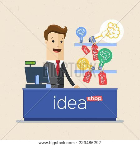 Businessman Selling His Ideas In Market, Ideas Store. Business Idea Concept. Vector Illustration Fla
