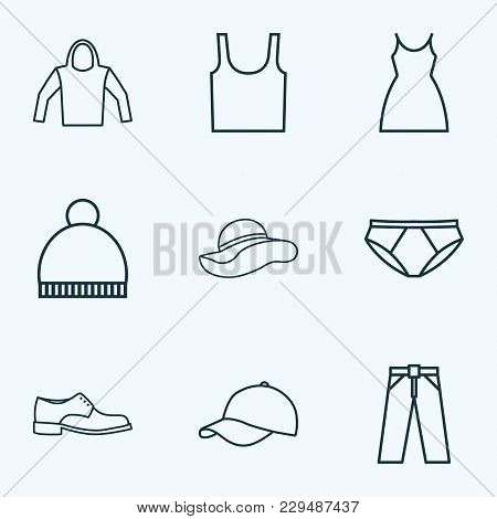 Clothes Icons Line Style Set With Cap, Beanie, Elegant Headgear And Other Singlet Elements. Isolated