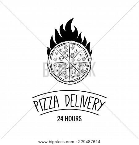 Pizza In Fire Icon. Pizza Rack. Stand For Pizza. Pizza Delivery Label. Pizzeria Logo. Vector Illustr