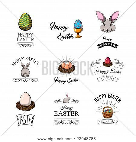 Big Collection Of Happy Easter Objects. Egg In Holder, Easter Bunny, Egg In Nest, Eggs In Basket. Ve