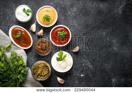 Set Of Sauces - Ketchup, Mayonnaise, Mustard Soy Sauce, Bbq Sauce, Pesto, Mustard Grains And Pomegra