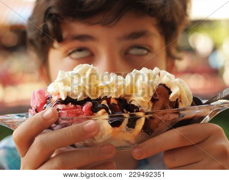 Boy Sweet Tooth Eating Banana Split Sundae Ice Cream In A Bowl Funny Photo