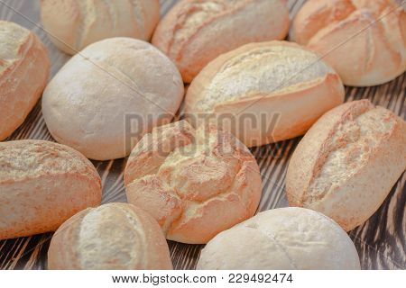 Homemade Buns On A Wooden Background,buns For The Old Polish Recipe