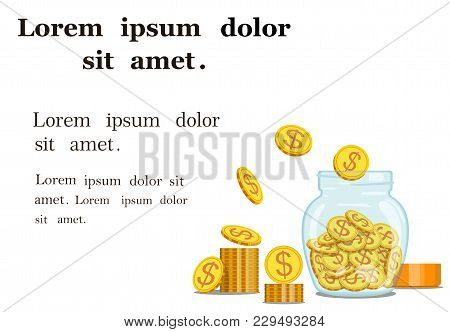 Vector Image Of Gold Coins In A Glass, Transparent Jar With Box For Text Or Paper. Monetary Accumula
