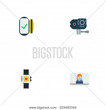 Set Of Trend Icons Flat Style Symbols With Action Cam, Contactless, Video Blogger And Other Icons Fo