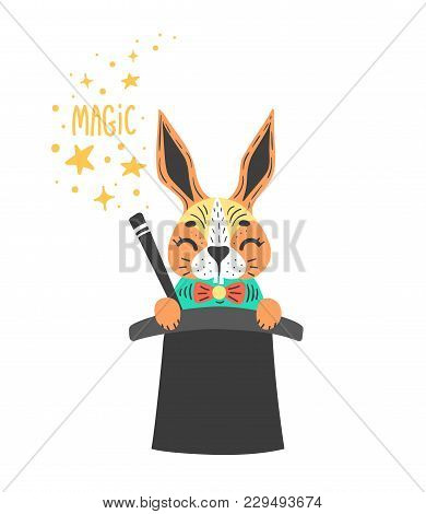 Vector Illustration Of Cute Rabbit In Wizards Cylinder. Magic Trick.