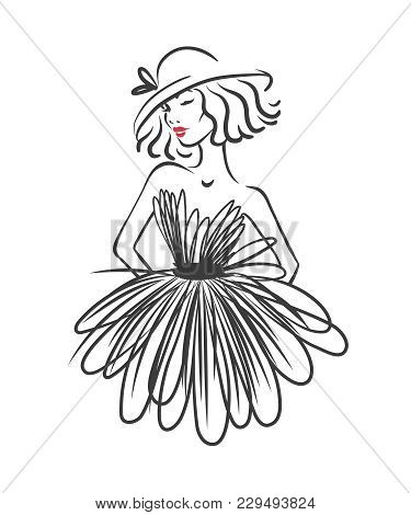 Silhouette Of Woman In Black Dress Isolated On White. Fashion Vector Illustration. Logo For Atelier
