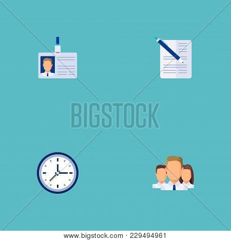 Set Of Job Icons Flat Style Symbols With Time, Document With Pen, Team And Other Icons For Your Web