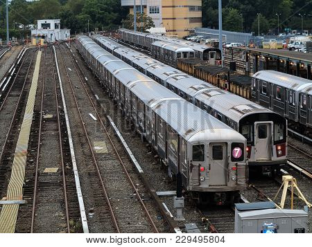 New York - September 6: Number 7 Subway Trains Lined Up In The Corona Yard Near In Queens On Septemb