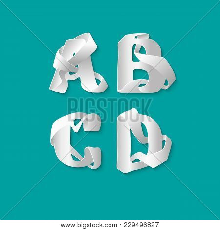 Vector Decorative 3d Alphabet Isolated Set Of Uppercase Letters. White Elegant Letter A, B, C, D. Fo