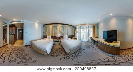 Minsk, Belarus - August 7, 2017: 360 Panorama Interior In Modern Hotel Bedroom With Two Beds. Full 3
