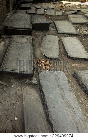 Sanahin, Armenia, September 20, 2017:  Medieval Tombstones In The Sanahin Monastery In Northern Arme
