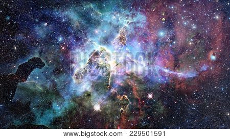 Mystic Mountain. Region In The Carina Nebula Imaged By The Hubble Space Telescope. Elements Of This
