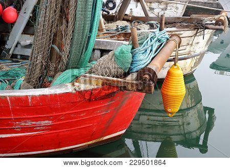 Chioggia, Italy. View Of Fisherman Boats In Chioggia Little Town In The Venetian Lagoon